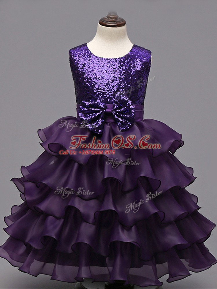 Dark Purple Ball Gowns Organza Scoop Sleeveless Ruffled Layers and Sequins Tea Length Zipper Child Pageant Dress