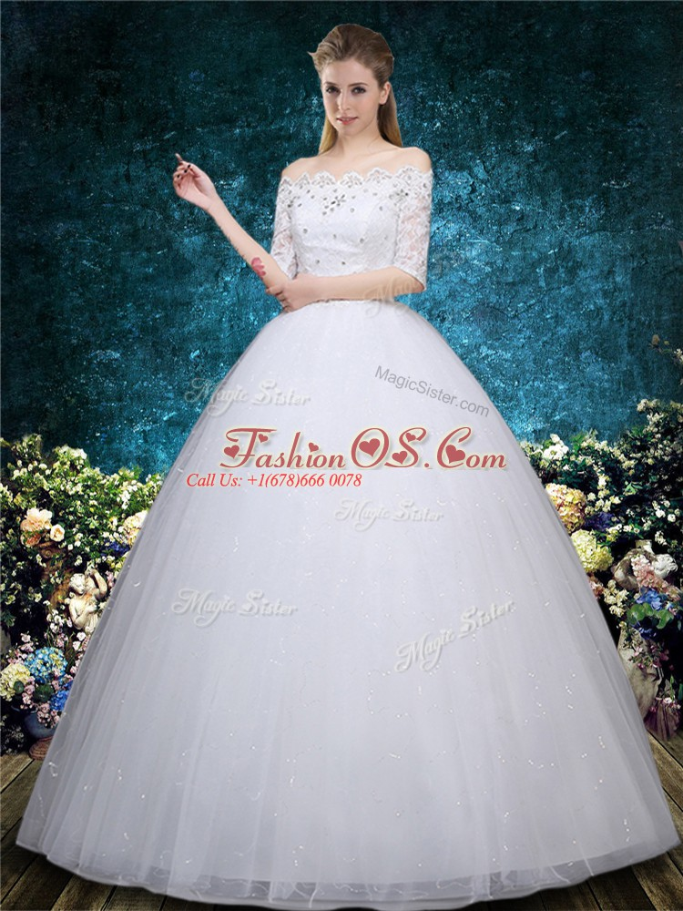 Floor Length White Wedding Dress Scalloped Half Sleeves Lace Up