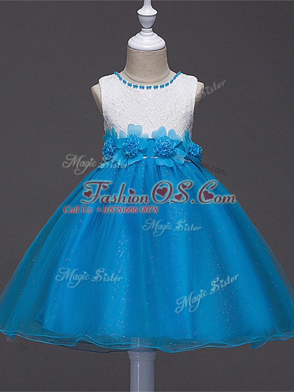 Customized Baby Blue Ball Gowns Scoop Sleeveless Tulle Knee Length Zipper Lace and Hand Made Flower Little Girl Pageant Gowns