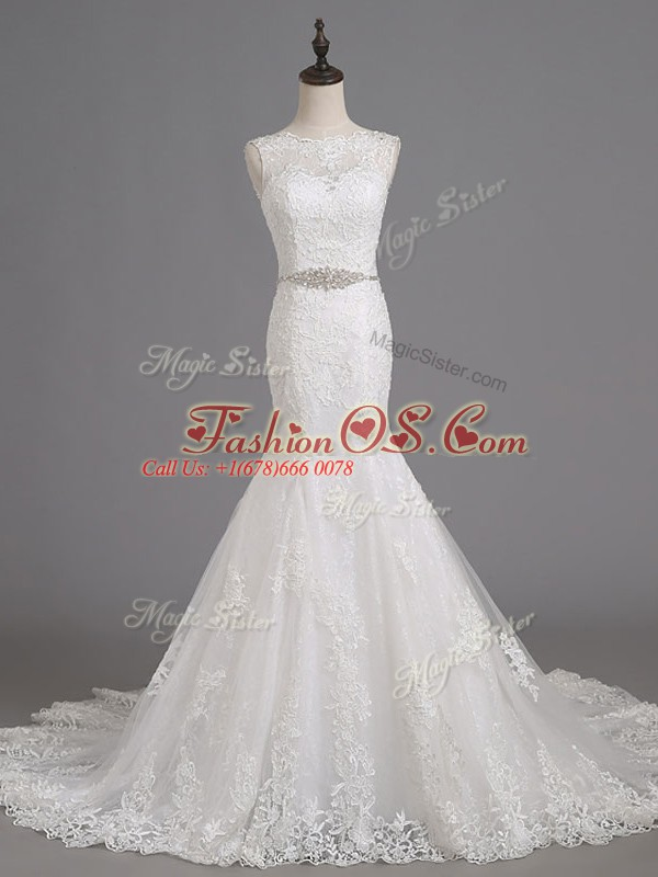 White Mermaid Beading and Lace Wedding Dresses Lace Up Tulle Sleeveless