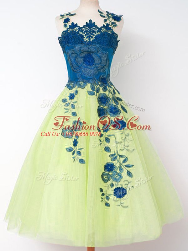 Straps Sleeveless Bridesmaid Dresses Knee Length Appliques Yellow Green Tulle