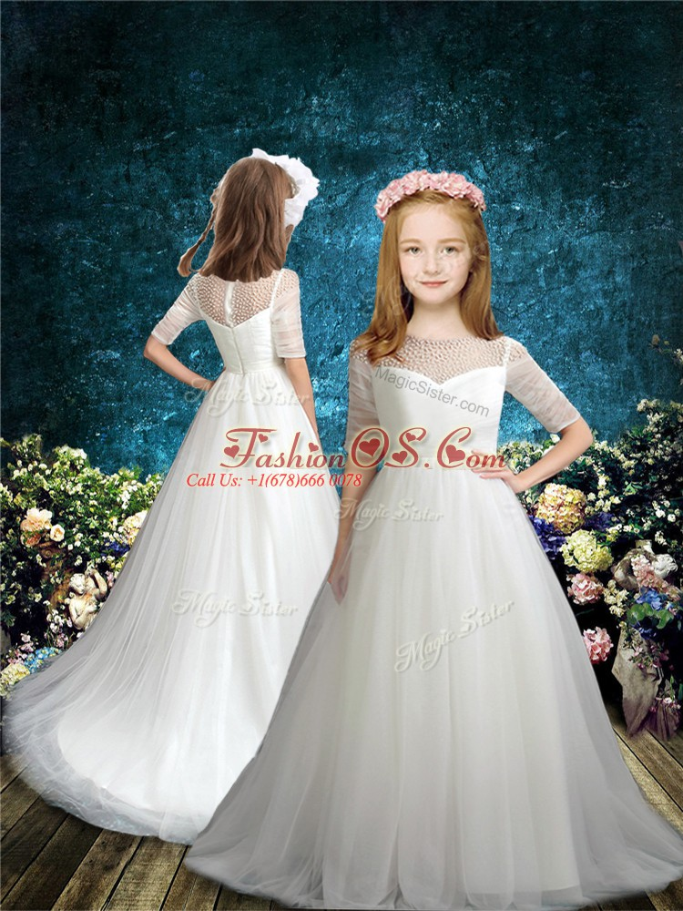 Admirable Brush Train A-line Toddler Flower Girl Dress White Scoop Tulle Half Sleeves Zipper