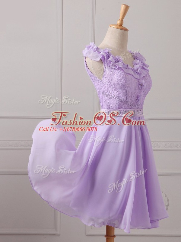 Inexpensive Mini Length Lavender Wedding Guest Dresses Chiffon Sleeveless Lace and Appliques