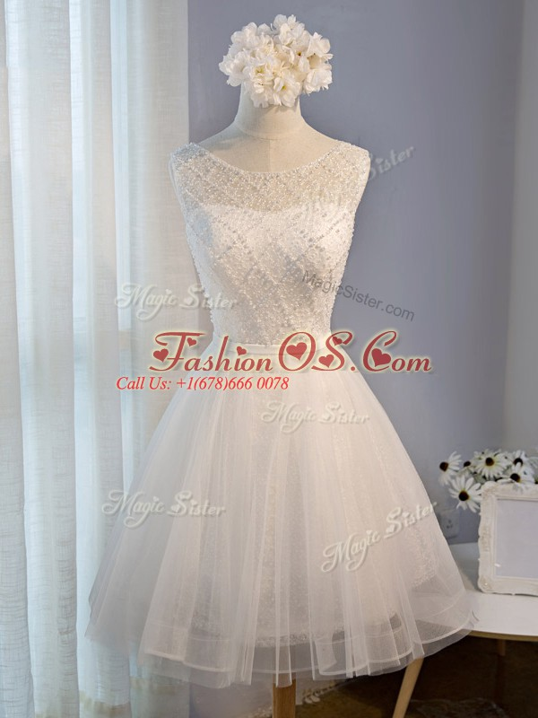Tulle Sleeveless Mini Length Cocktail Dresses and Beading