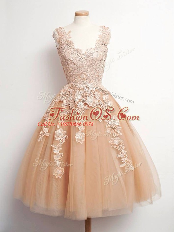 Fashion Sleeveless Knee Length Lace Lace Up Bridesmaid Dress with Champagne