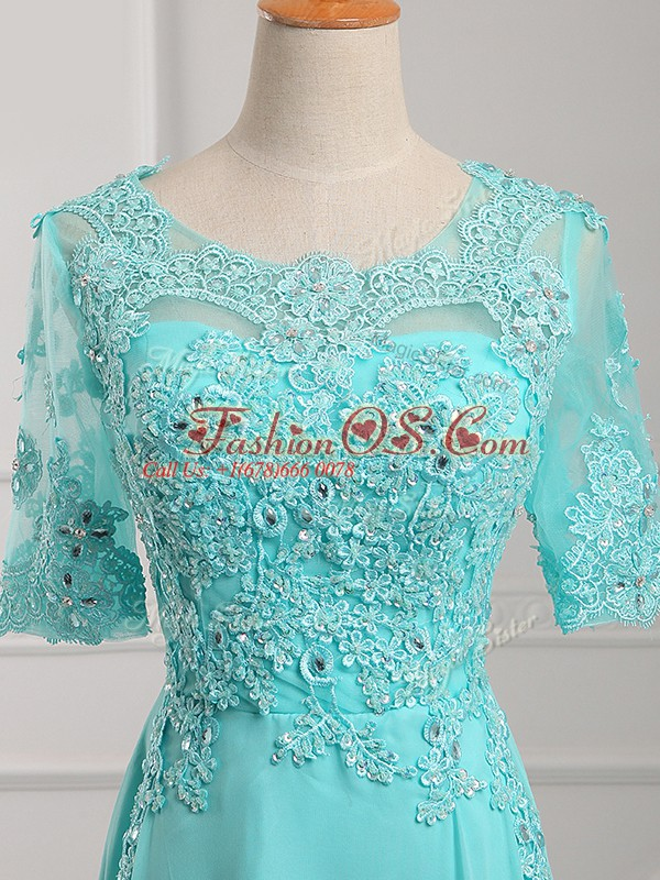 Flare Floor Length Aqua Blue Mother Of The Bride Dress Chiffon Half Sleeves Lace and Appliques