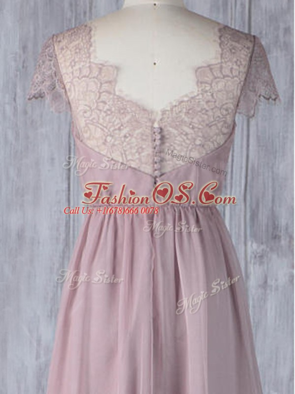 Pink Short Sleeves Lace Floor Length Bridesmaid Dress