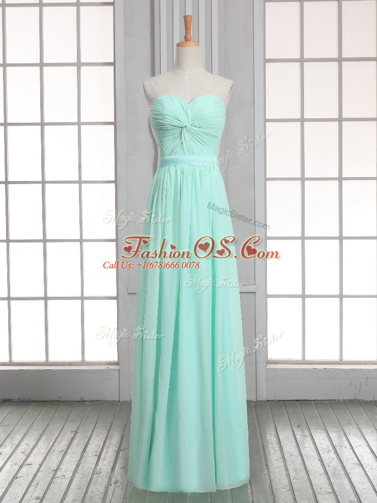 Apple Green Sweetheart Lace Up Ruching Prom Gown Sleeveless