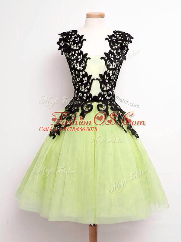 Sweet Yellow Green A-line Straps Sleeveless Tulle Knee Length Lace Up Lace Damas Dress