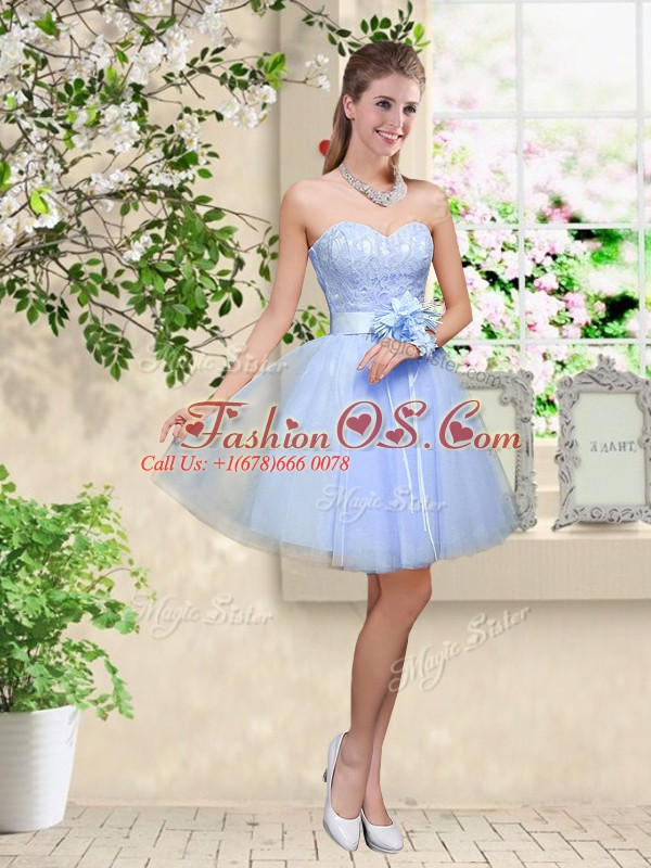 Superior Lavender Lace Up Sweetheart Lace and Belt Quinceanera Dama Dress Tulle Sleeveless
