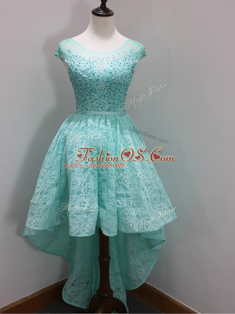 Luxurious Aqua Blue A-line Lace Scoop Cap Sleeves Beading and Lace High Low Zipper Bridesmaid Dresses