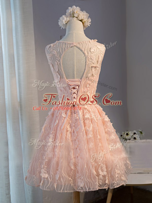 Pink Sleeveless Tulle Lace Up Prom Party Dress for Prom and Party and Beach