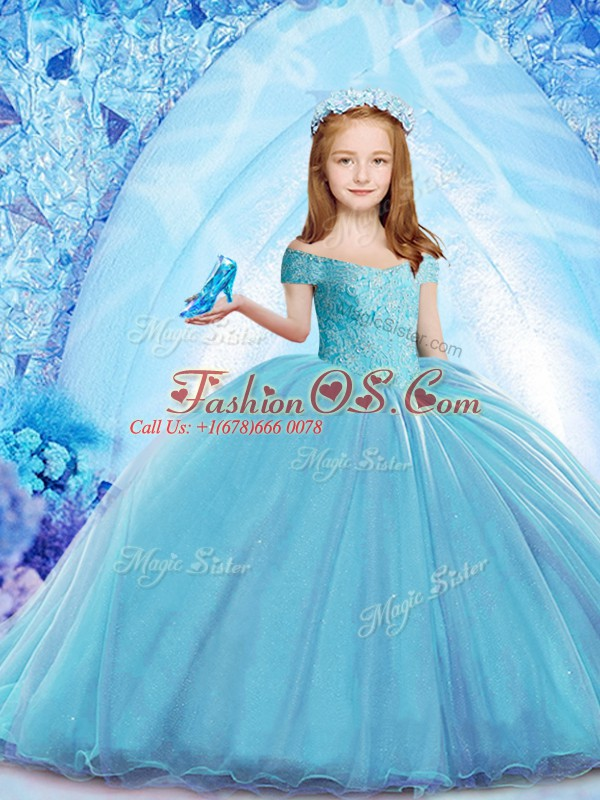 Off The Shoulder Cap Sleeves Little Girl Pageant Dress Brush Train Beading Baby Blue Organza