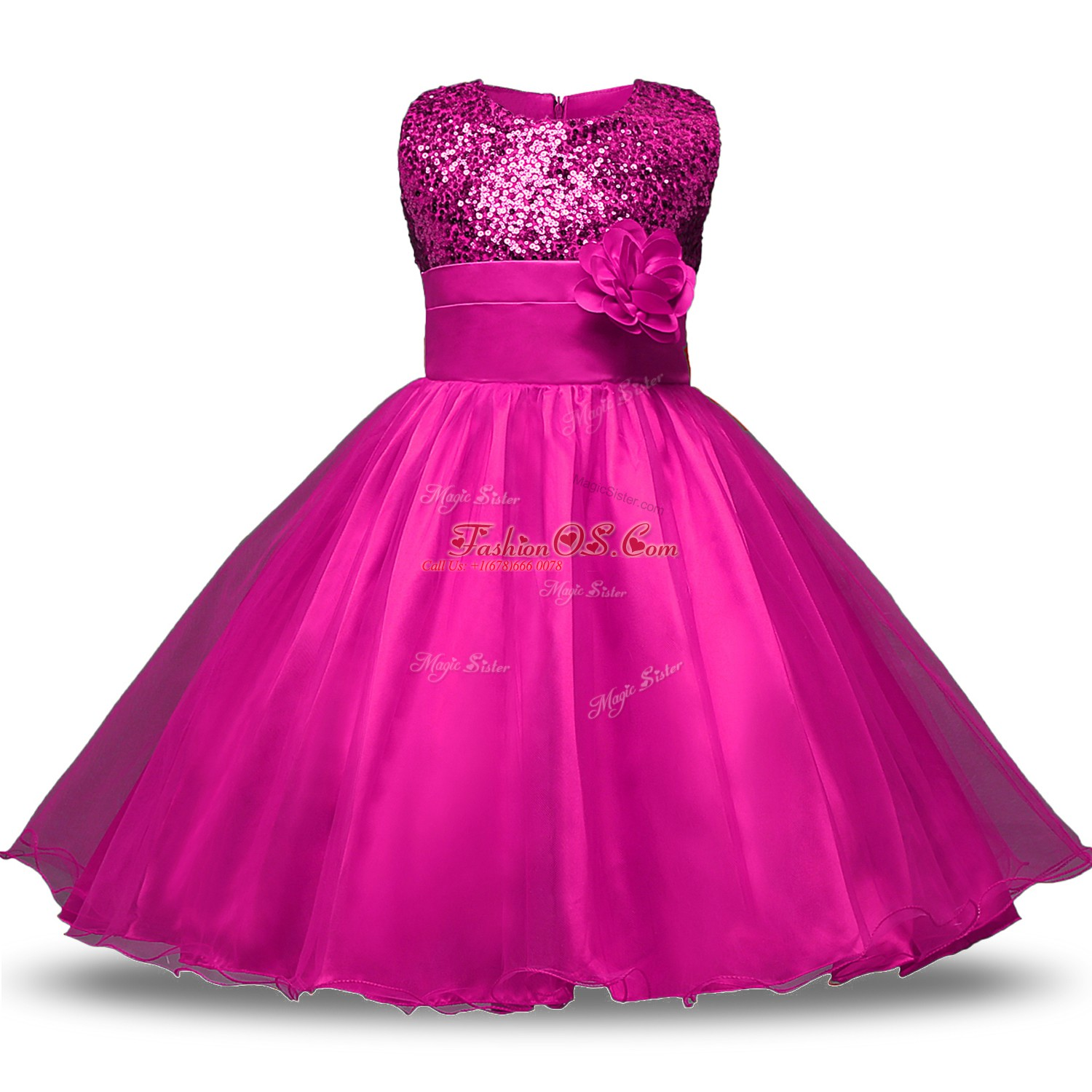 Organza and Sequined Strapless Sleeveless Zipper Bowknot and Belt and Hand Made Flower Toddler Flower Girl Dress in Fuchsia