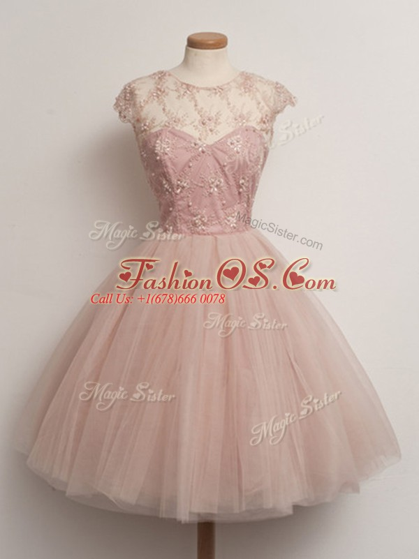 Chic Peach Ball Gowns Tulle Scoop Cap Sleeves Lace Knee Length Lace Up Bridesmaids Dress