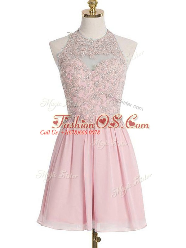 Sleeveless Knee Length Appliques Lace Up Dama Dress with Pink