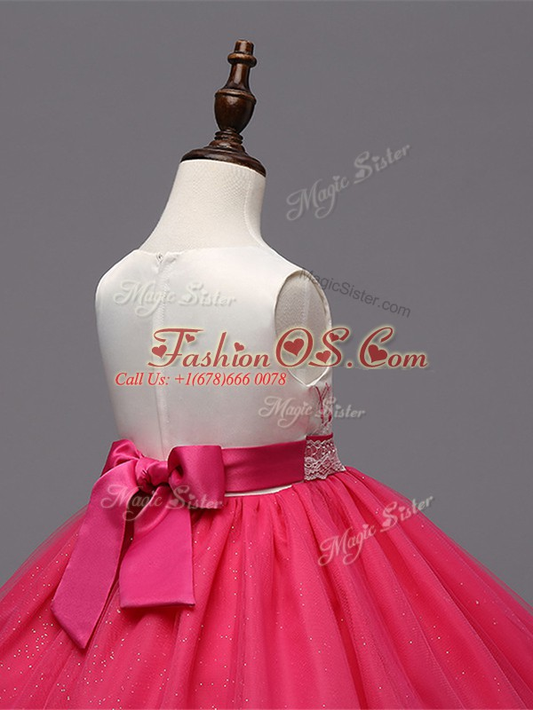 Affordable Red Sleeveless Organza Zipper Child Pageant Dress for Wedding Party