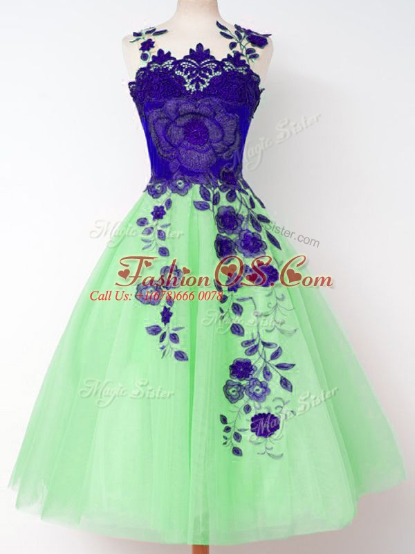 Adorable Tulle Straps Sleeveless Lace Up Appliques Bridesmaid Gown in