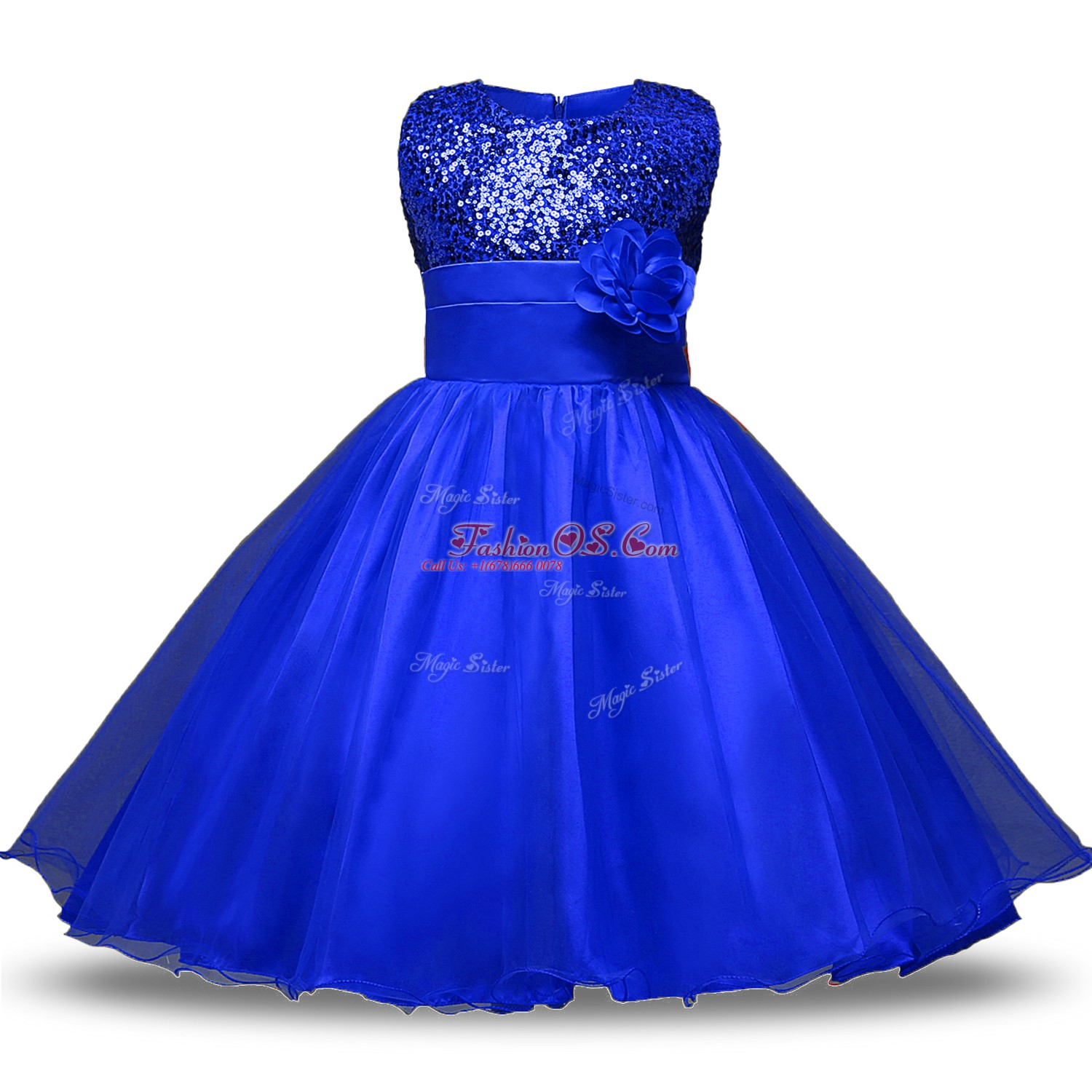 Beauteous Organza and Sequined Sleeveless Knee Length Flower Girl Dresses for Less and Belt and Hand Made Flower