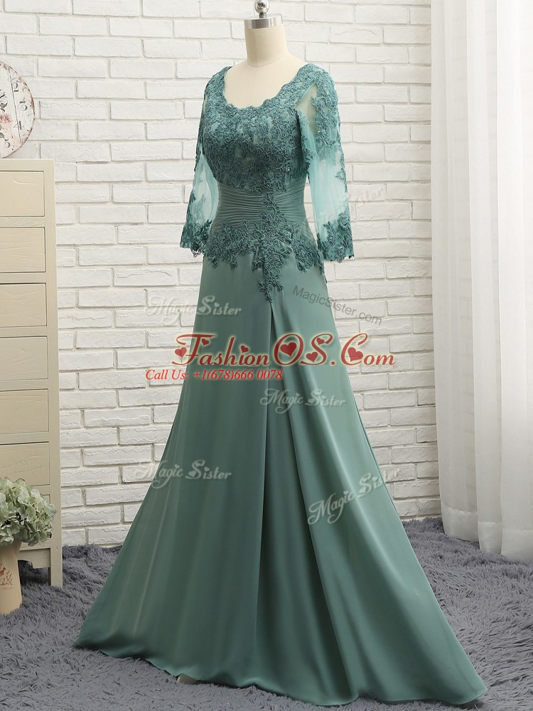 New Arrival Floor Length Zipper Mother Of The Bride Dress Green for Prom and Sweet 16 with Beading and Lace and Appliques