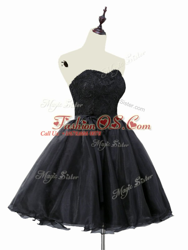 Hot Selling Black A-line Sweetheart Sleeveless Organza Mini Length Lace Up Lace and Sashes ribbons Prom Dress