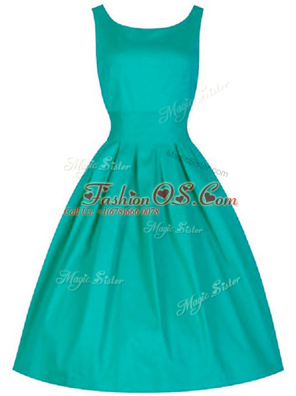 Classical Turquoise A-line Ruching Dama Dress Lace Up Taffeta Sleeveless Knee Length
