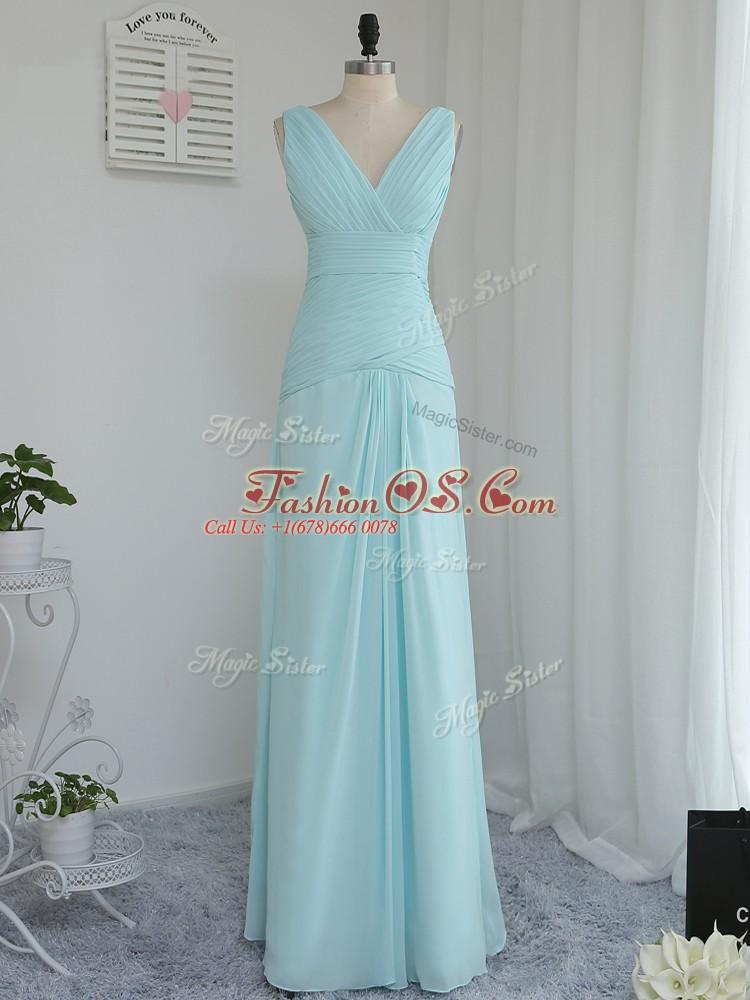 V-neck Sleeveless Zipper Quinceanera Court of Honor Dress Aqua Blue Chiffon