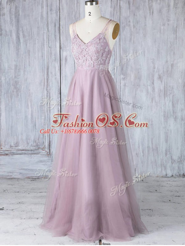 Latest Pink Tulle Clasp Handle Bridesmaid Gown Sleeveless Floor Length Lace
