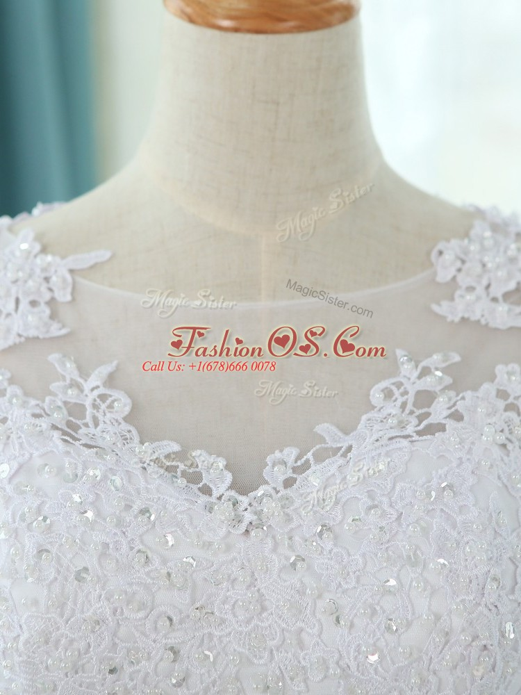 Super Half Sleeves Court Train Zipper Lace and Appliques Wedding Gown