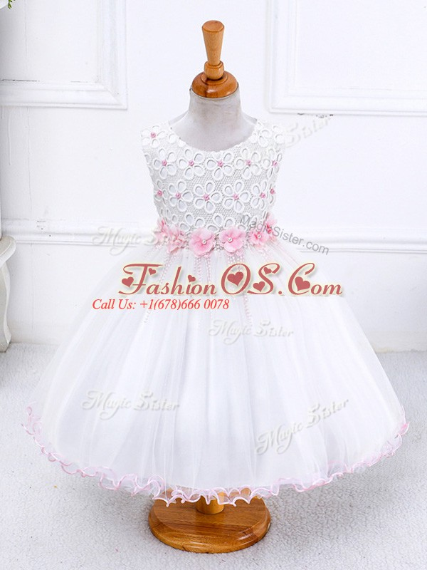 White Zipper Scoop Appliques Kids Pageant Dress Organza Sleeveless