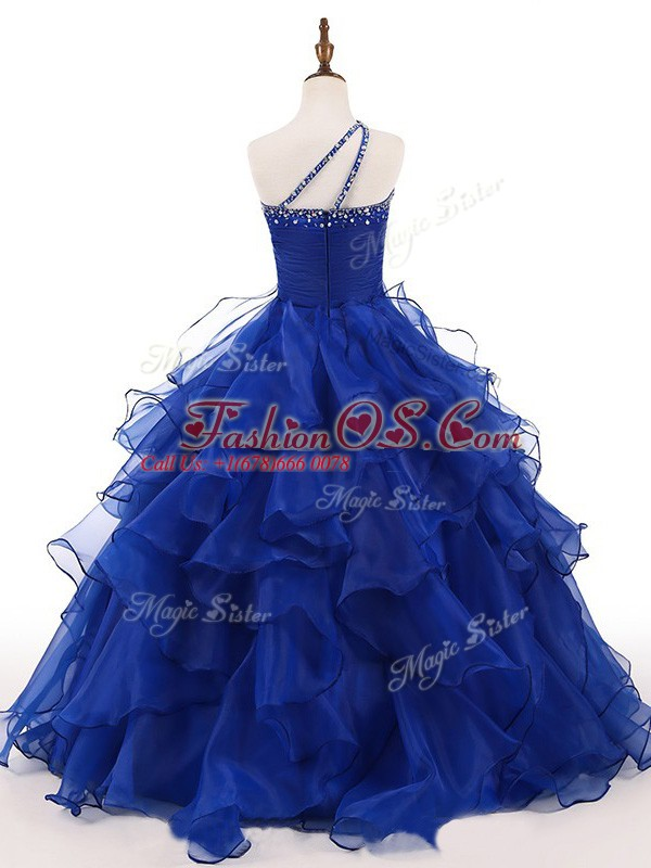 Royal Blue One Shoulder Zipper Beading and Ruffles Kids Pageant Dress Sleeveless