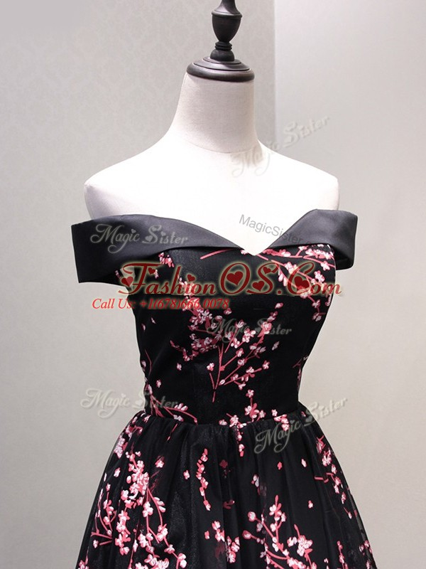 Tulle Off The Shoulder Sleeveless Lace Up Lace and Appliques Dress for Prom in Black