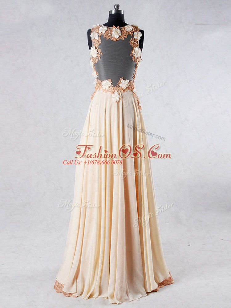 Sleeveless Beading and Lace and Hand Made Flower Backless Prom Evening Gown with Champagne Sweep Train