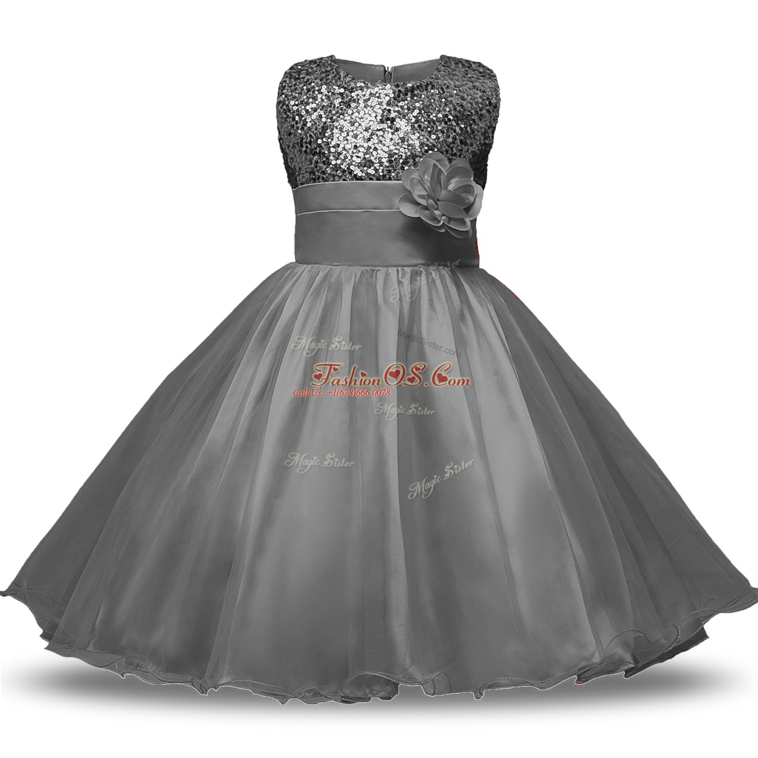Grey Zipper Scoop Bowknot and Belt and Hand Made Flower Flower Girl Dresses Organza and Sequined Sleeveless