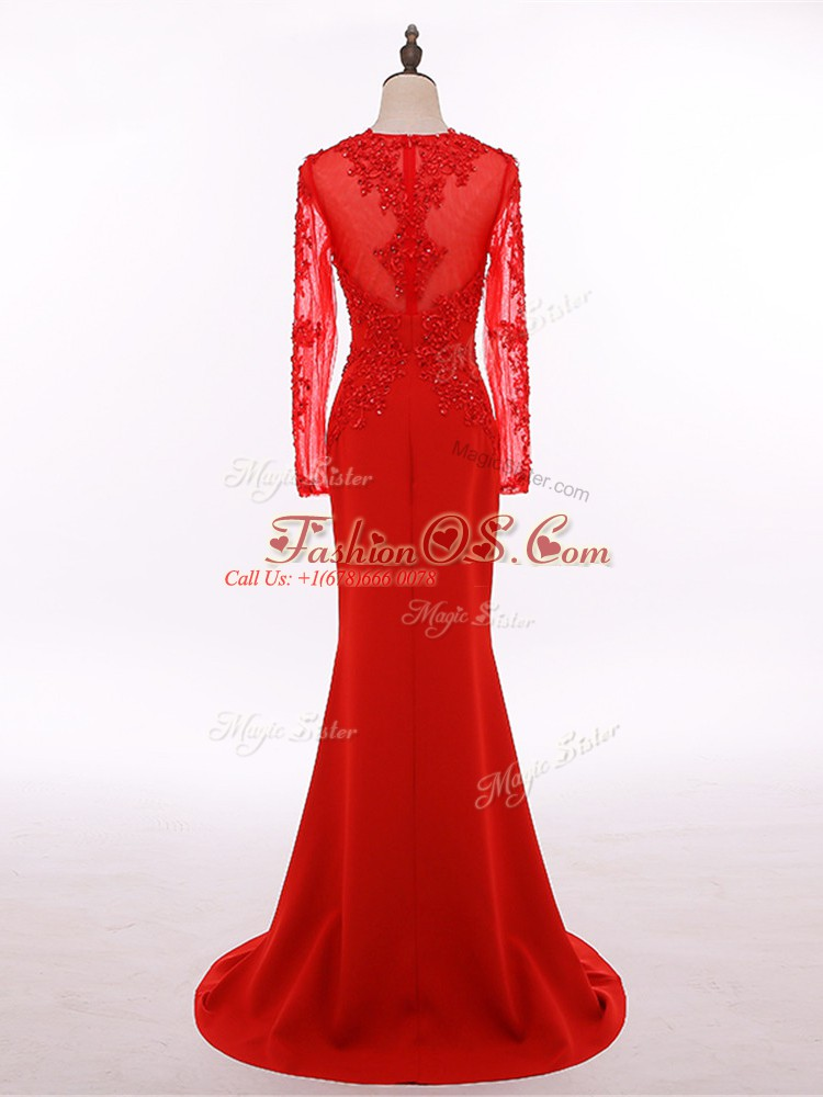 Red Scoop Zipper Lace and Appliques Mother Of The Bride Dress Long Sleeves