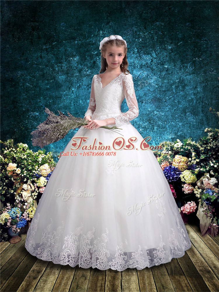 White Lace Up Flower Girl Dresses for Less Lace 3 4 Length Sleeve Floor Length