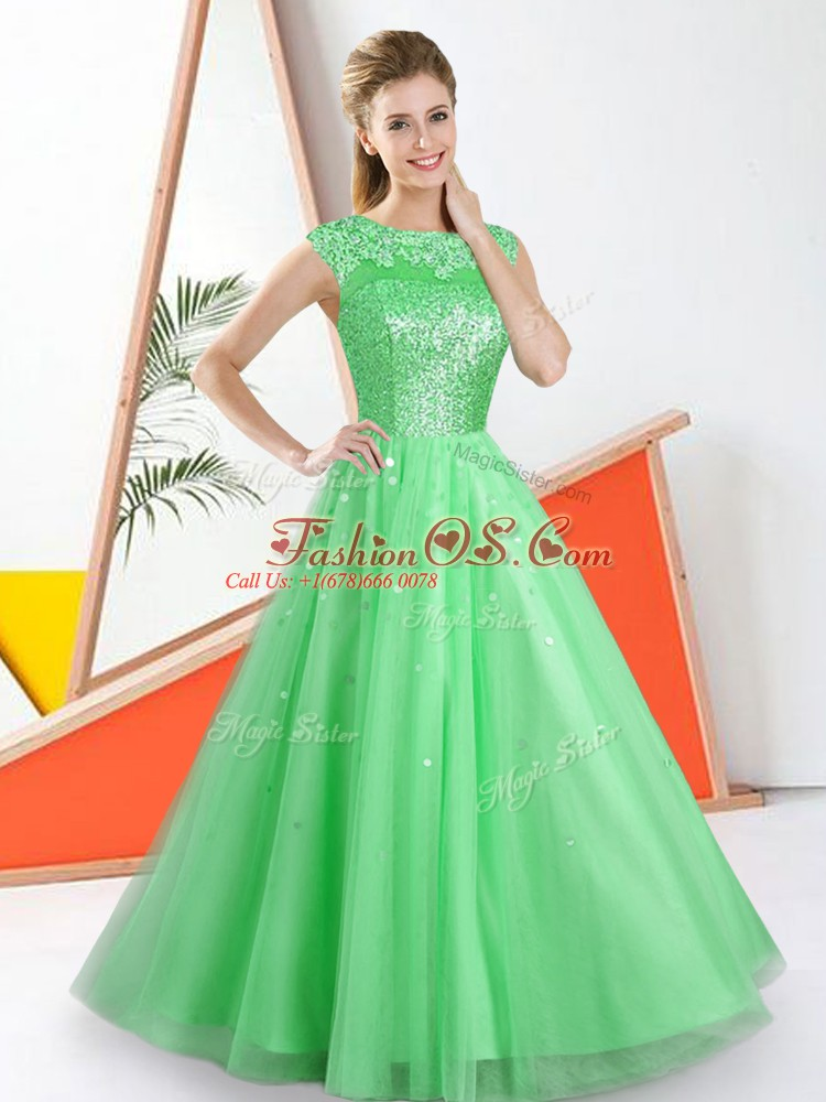 New Arrival Floor Length Green Bridesmaids Dress Tulle Sleeveless Beading and Lace