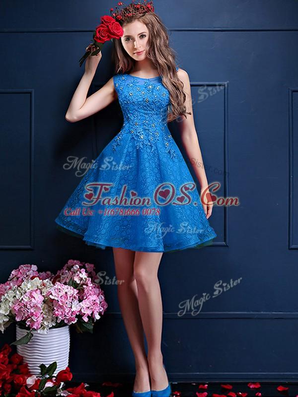 Blue Lace Up Bateau Beading and Lace Bridesmaid Dress Tulle Sleeveless