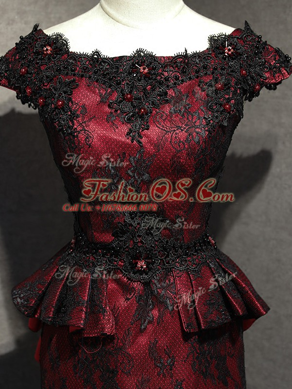 Red And Black Sleeveless Lace and Appliques Floor Length Mother Of The Bride Dress