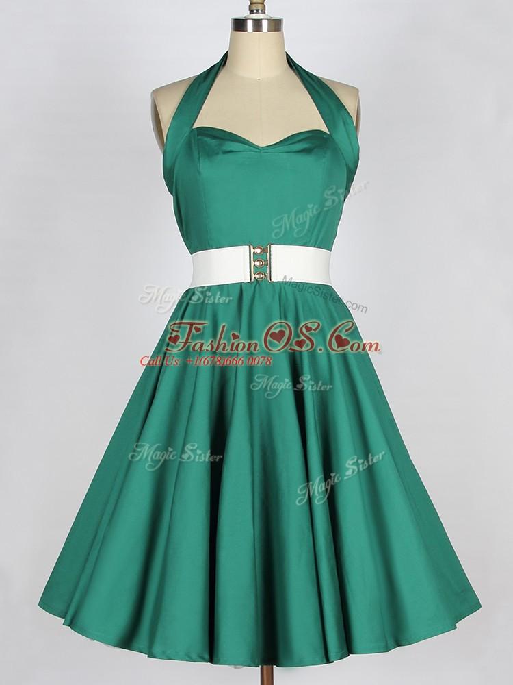 Luxury Knee Length Dark Green Bridesmaids Dress Taffeta Sleeveless Belt
