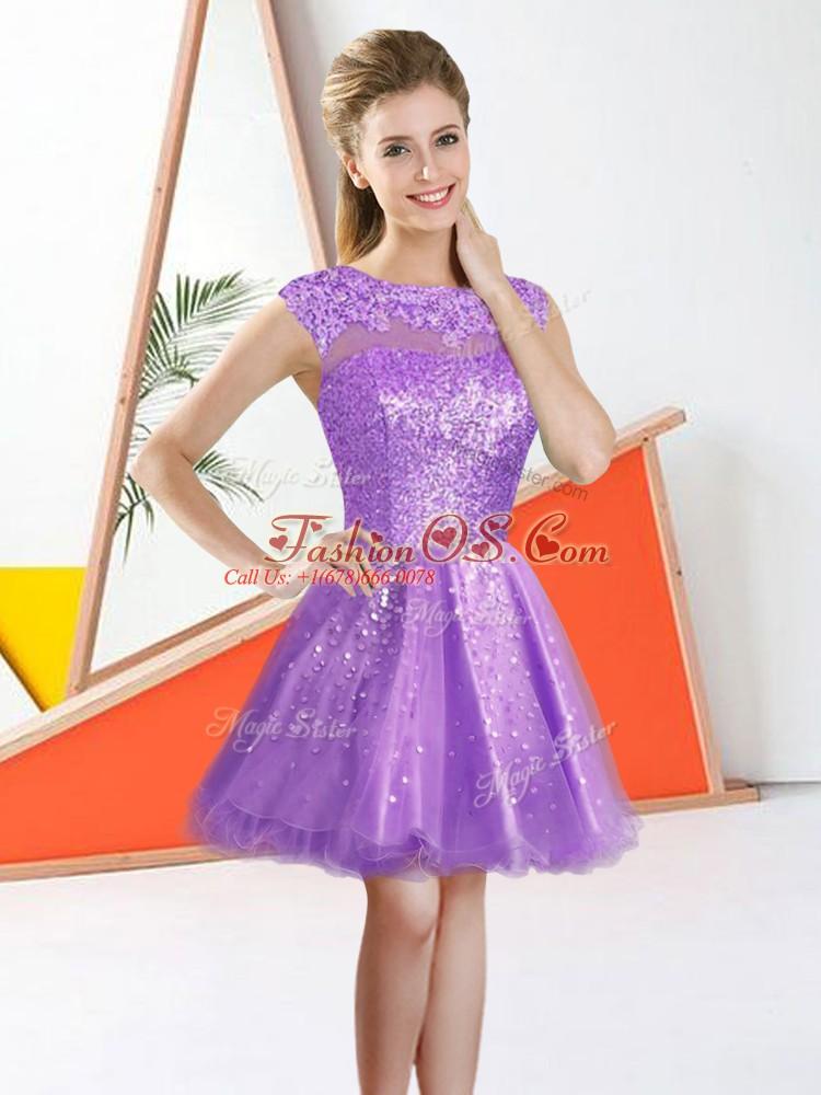 Bateau Sleeveless Bridesmaids Dress Knee Length Beading and Lace Lilac Organza