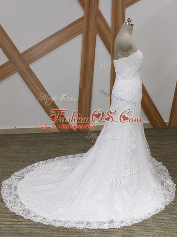Deluxe White Sleeveless Lace Lace Up Bridal Gown