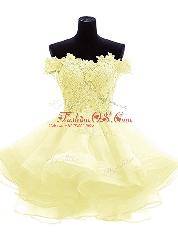 Light Yellow A-line Off The Shoulder Sleeveless Organza Mini Length Zipper Beading and Lace and Appliques and Ruffles Prom Evening Gown