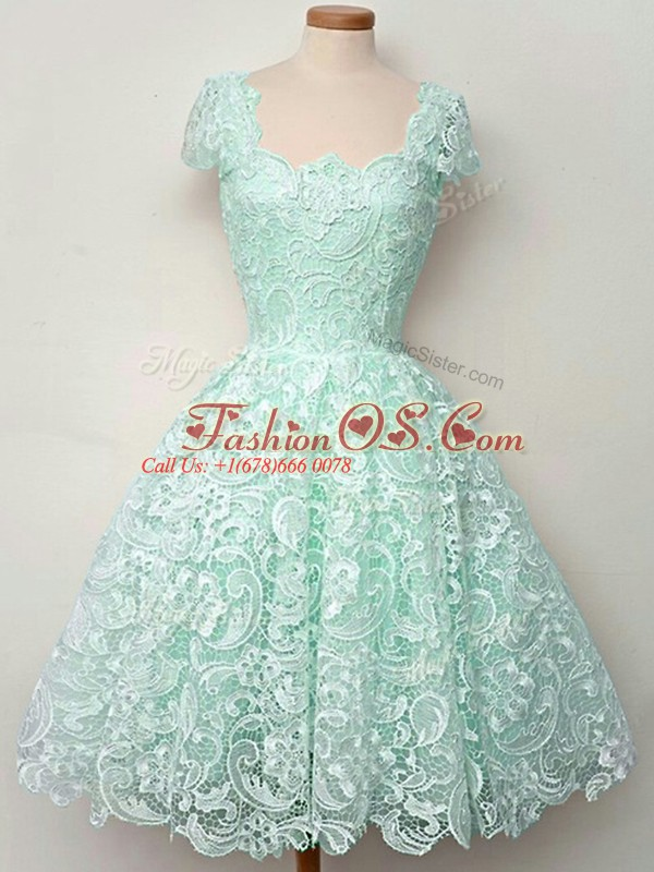 Pretty Apple Green Cap Sleeves Lace Lace Up Quinceanera Court of Honor Dress for Prom and Party and Wedding Party