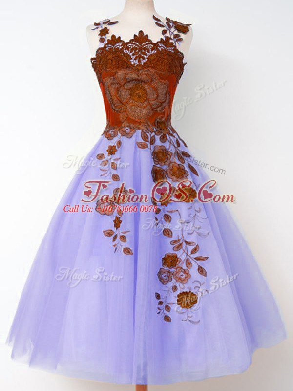 Top Selling Lavender Lace Up Quinceanera Dama Dress Appliques Sleeveless Knee Length
