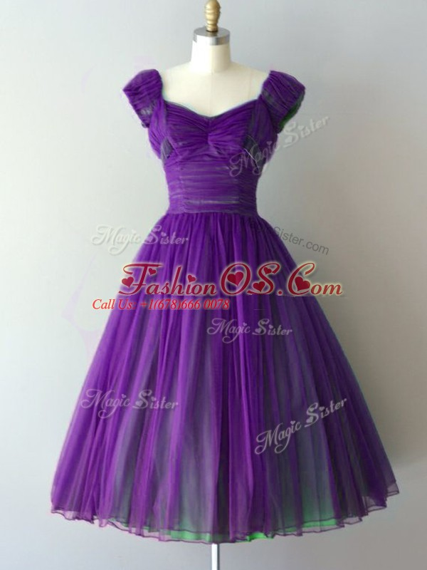 Comfortable Cap Sleeves Chiffon Knee Length Lace Up Vestidos de Damas in Purple with Ruching