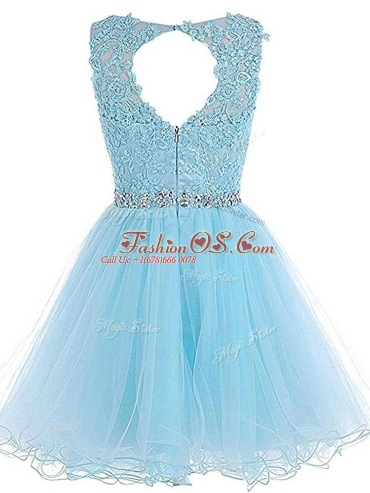 Pink Scoop Neckline Beading and Lace and Appliques and Ruffles Prom Evening Gown Sleeveless Zipper