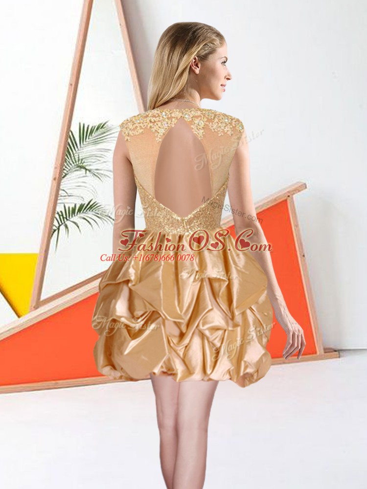 Free and Easy Champagne Ball Gowns Taffeta Bateau Sleeveless Beading and Lace and Ruffles Knee Length Backless Quinceanera Court Dresses