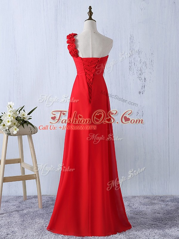 Red One Shoulder Lace Up Hand Made Flower Bridesmaid Gown Sleeveless