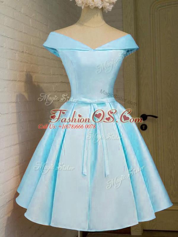 Aqua Blue A-line Belt Quinceanera Court of Honor Dress Lace Up Taffeta Cap Sleeves Knee Length